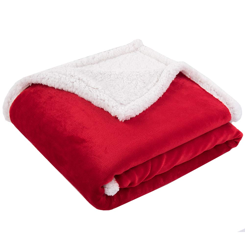 """BATTILO HOME Sherpa Blanket Super Soft Warm Breathable Lightweight Reversible Bed or Couch Throw Fleece Blanket Eco-Friendly Easy Care for Winter (Red, 51""""x67"""")"""