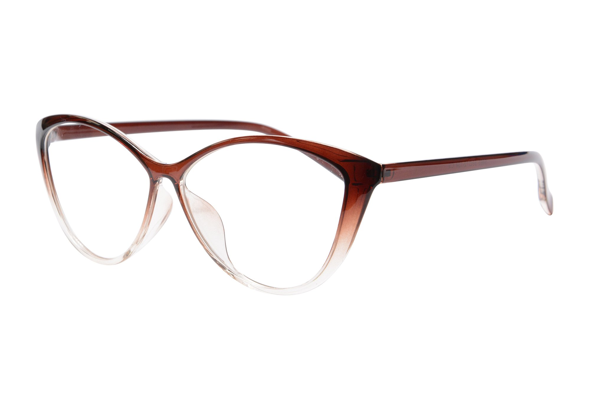 Ladies Cateye Glasses Frames Blue Blocking Clear Lens Computer Reading Glasses-5865(brown, anti blue light up 0.5 down 3.25)