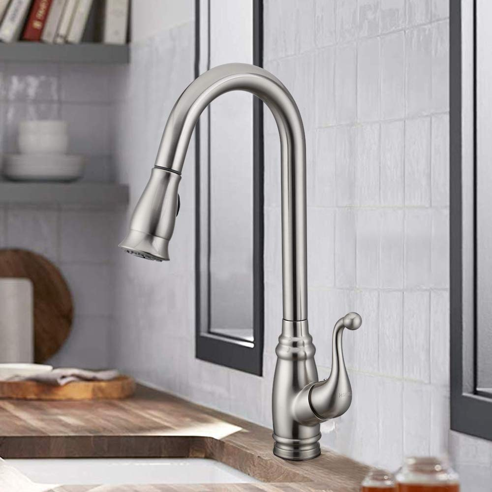 Antique Kitchen Faucet with Deck Plate,【cUPC Certificated】Brushed Nickel Bar Sink Faucet with Sprayer, Lead-free Single Handle Stainless Steel KOPAIS Faucet with Escutcheon