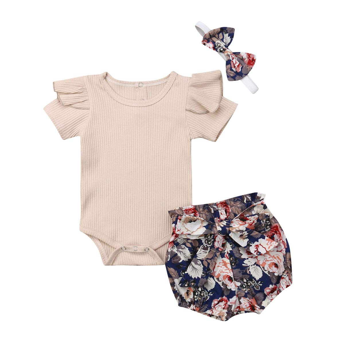 Toddler Baby Girls Summer Short Set Ruffle Top+Floral Short Pants Summer Clothes Outfit