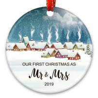 Creawoo Our First Christmas as Mr.& Mrs. Ornament 2019, Newlywed Wedding Gift Unique Christmas Ornament Ceramic Housewarming Gift Xmas Tree Decoration (Winter House)