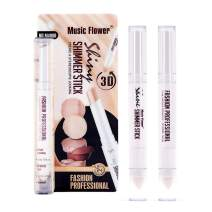 Music Flower Double Ended Shimmer Highlighter Stick Brighten Face Makeup Bronzes Contour Pencil Oil-Control