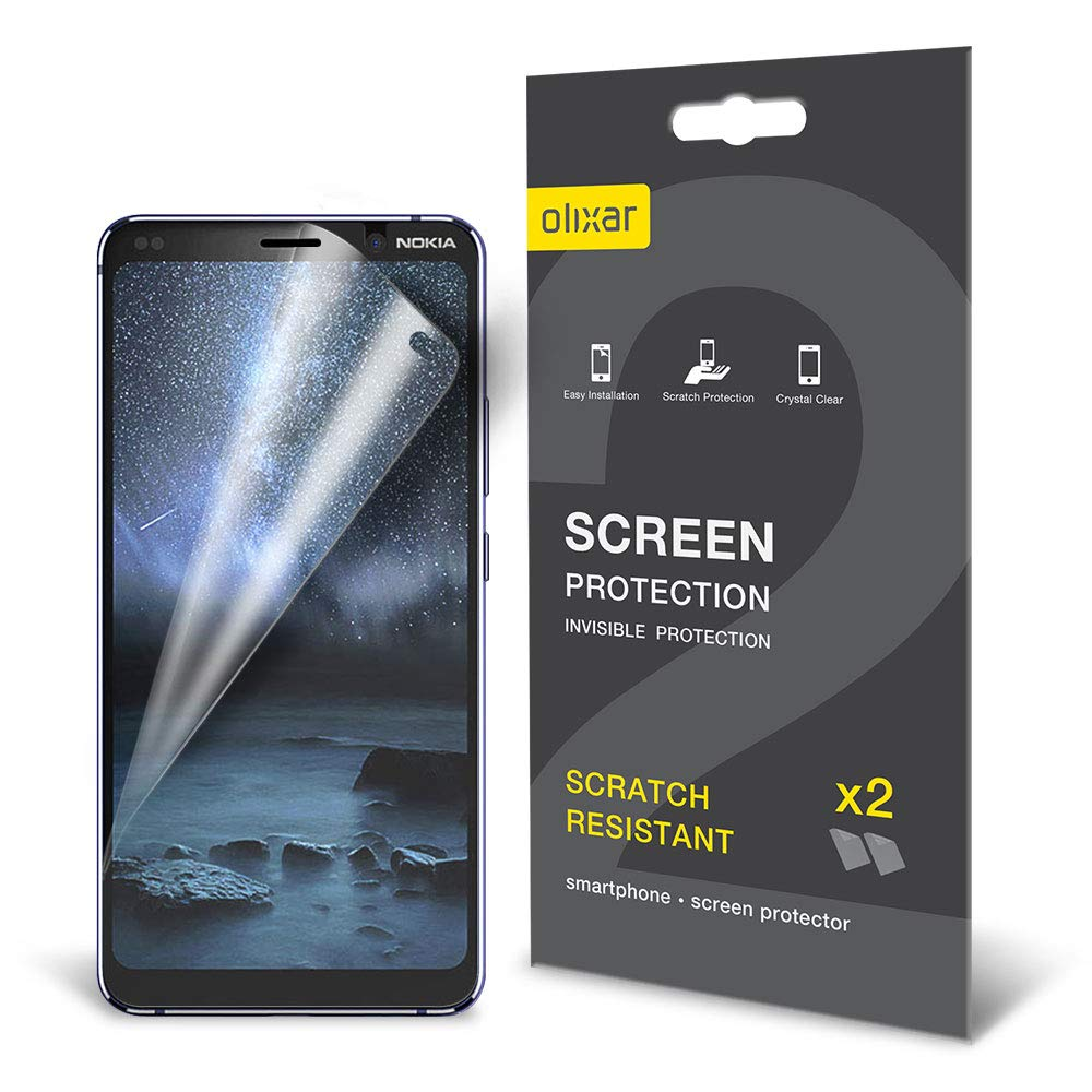 Olixar for Nokia 9 Screen Protector - Film Protection - Case Friendly - Easy Application Card and Cleaning Cloth Included - 2 Pack
