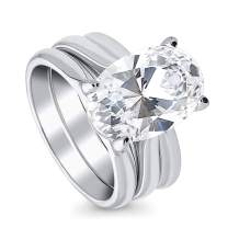 BERRICLE Rhodium Plated Sterling Silver Oval Cut Cubic Zirconia CZ Solitaire Wedding Engagement Ring Set 5.5 CTW