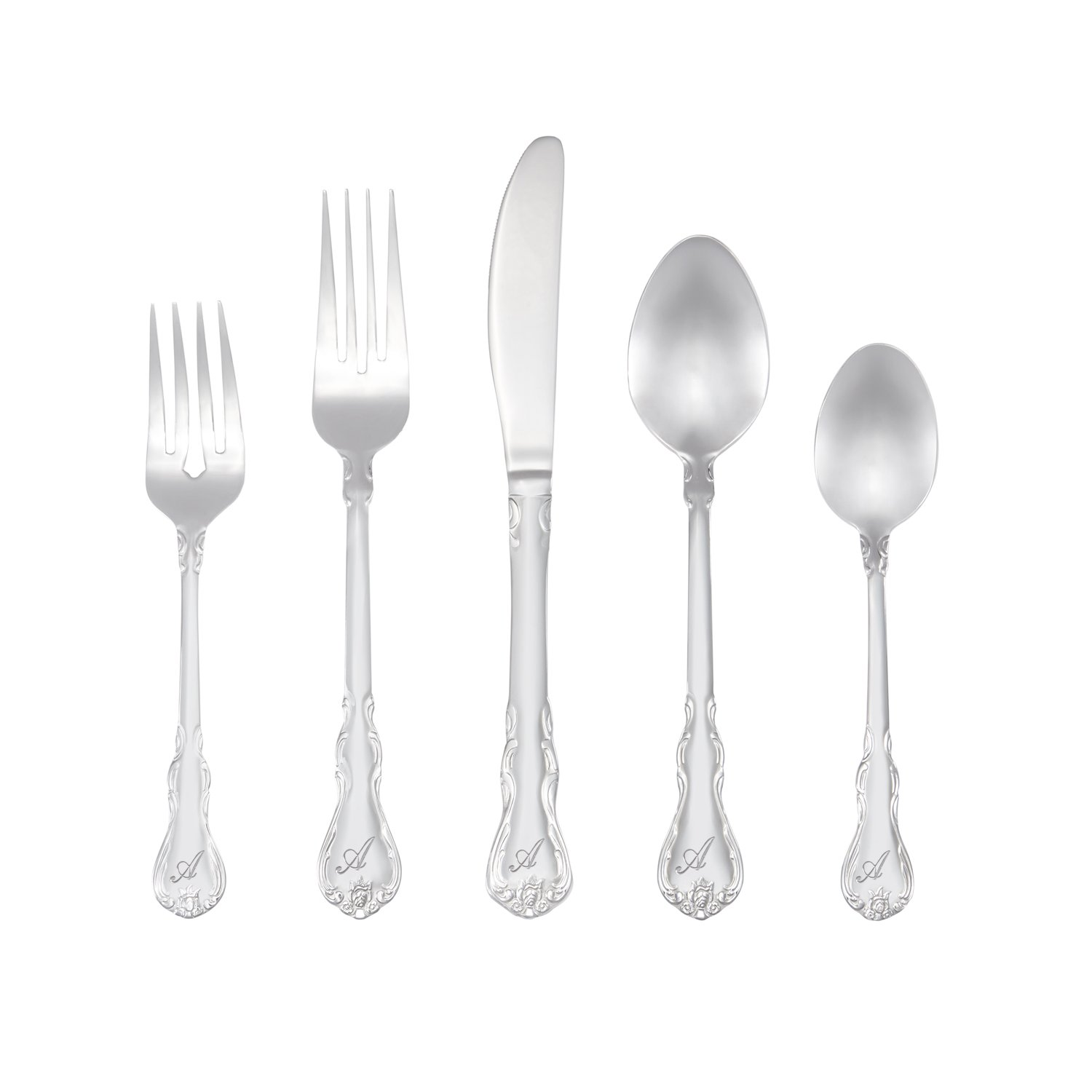 RiverRidge Home 10-091 Bouquet Monogrammed Flatware Set, 46, Silver