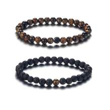 SOFTONES 6MM Lava Rock Aromatherapy Anxiety Essential Oil Diffuser Beads Bracelet for Women Men,Friendship Couples Gifts Natural Stone Bracelets