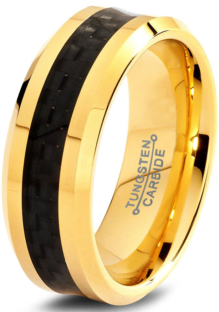 Yellow Gold Ring Mens Wedding Band 8mm Engagement Band Tungsten Carbide 18k Yellow Gold Wedding Band Polished Edges Black And Gold Ring