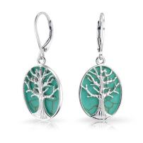 Oval Lapis Turquoise Abalone Leverback Mother Of Pearl Family Tree Of Life Dangle Earrings For Women Sterling Silver