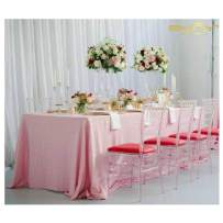 ShinyBeauty Pink Rectangular Tablecloth 90x132-Inch Sequin Baby Pink Table Cloth Table Linens -0725S
