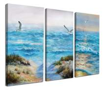 """Canvas Wall Art Blue Ocean Seascape Painting Pictures Nature Landscape Birds Modern Artwork 16""""x32""""x3 Panels Stretched and Framed Large Size for Home Office Living Room Bedroom Bathroom Décor"""