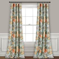 """Lush Decor Blue and Green Sydney Curtains   Floral Garden Room Darkening Window Panel Set for Living, Dining, Bedroom (Pair), 108"""" Long x 52"""" Wide, L, Blue & Green"""
