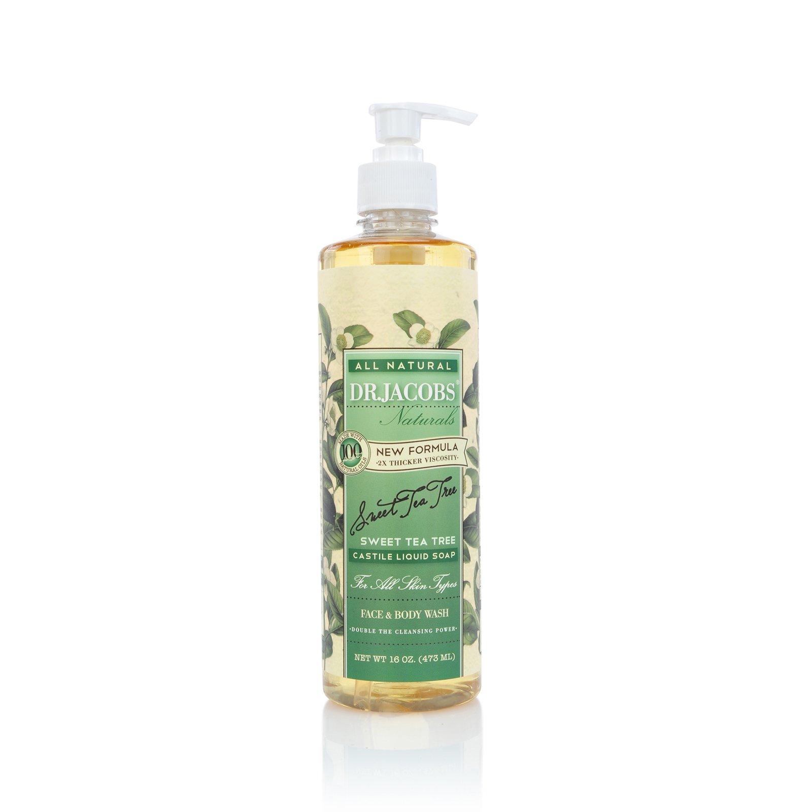 DR.JACOBS NATURALS Pure Castile Liquid Soap - Natural Face and Body Wash 16 oz. (Sweet Tea Tree)