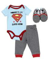 Justice League Baby Boys Newborn Infant 3 Piece Set Bodysuit Long Pants and Shoes
