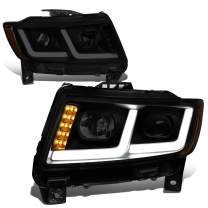 Dual L-Style LED DRL Projector Tinted Housing Amber Corner Headlight Lamps Replacement for Jeep Grand Cherokee 11-13