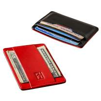 F&H Signature Slim RFID Card Holder Wallet in Top Grain Leather (Smooth Black/Red)