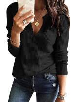 Glomeen Women's V Neck Henley Shirts Waffle Knit Loose Fitting Casual Long Sleeve Blouses Tops