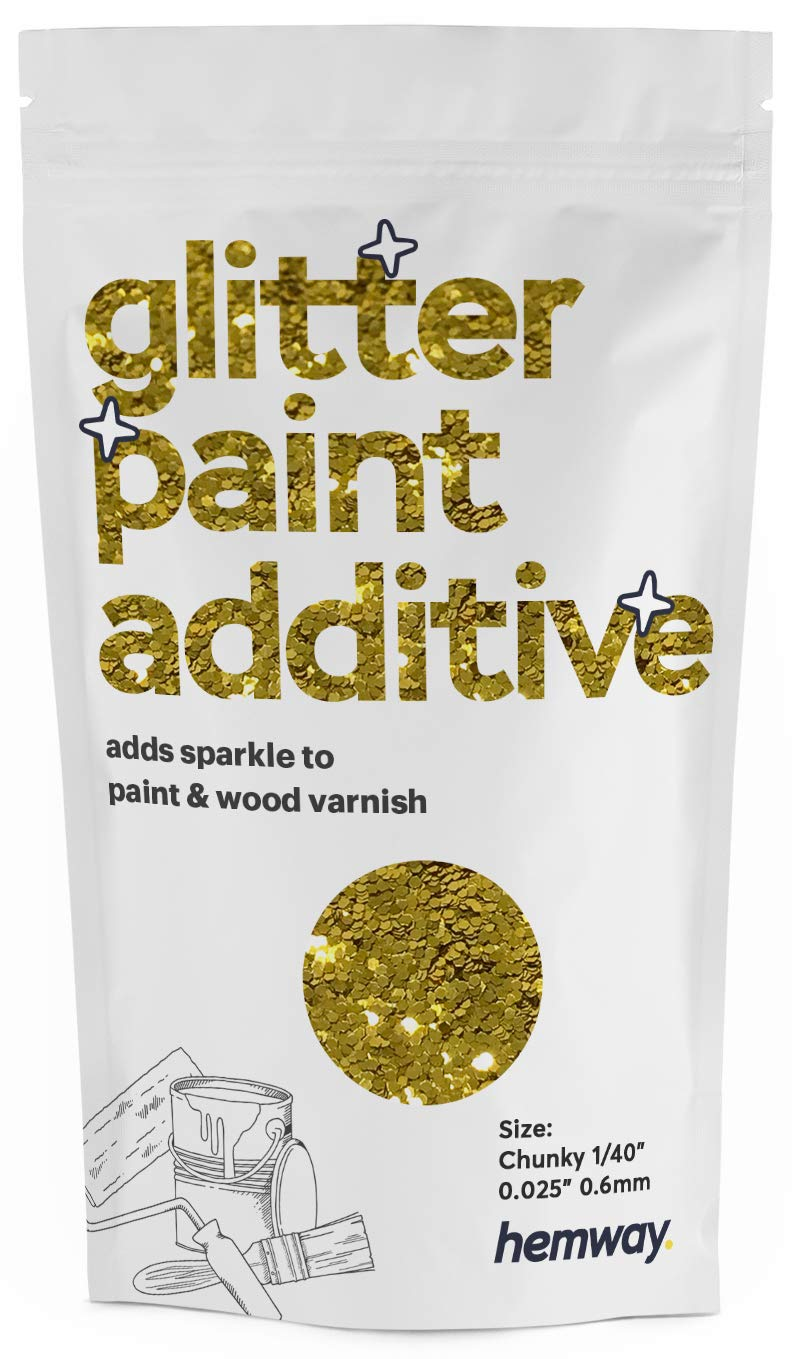 """Hemway Glitter Paint Additive Chunky 1/40"""" 0.6mm Emulsion/Acrylic Water Based Paints Wall Ceiling 100g / 3.5oz (Gold)"""