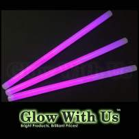 "Glow Sticks Bulk Wholesale, 10 12"" 15mm Dia. Purple Industrial Grade Jumbo Light Sticks, Bright Color, Glow 14 Hrs, Safety Glow Stick 3yrs Shelf Life, Ideal for Camping & Emergency, GlowWithUs Brand"
