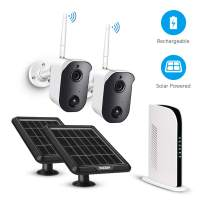 Wireless Security Camera System Solar Powered Battery Rechargeable Panel, Night Vision, Home Outdoor, 1080p, 2-Way Audio, Wall Mount with 2 WiFi Camera NVR kit and 128G TF Card PIR Motion Sensor