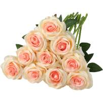 Nubry Artificial Silk Rose Flower Bouquet Lifelike Fake Rose for Wedding Home Party Decoration Event Gift 10pcs (Champagne)