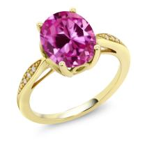 Gem Stone King 14K Yellow Gold Pink Created Sapphire and Diamond Women Engagement Ring (3.29 Ct Oval Available in size 5, 6, 7, 8, 9)