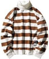Hotmiss Men Women Oversized Turtleneck Striped Long-Sleeve T-Shirt Basic Pullover Hip Hop Tee Shirt