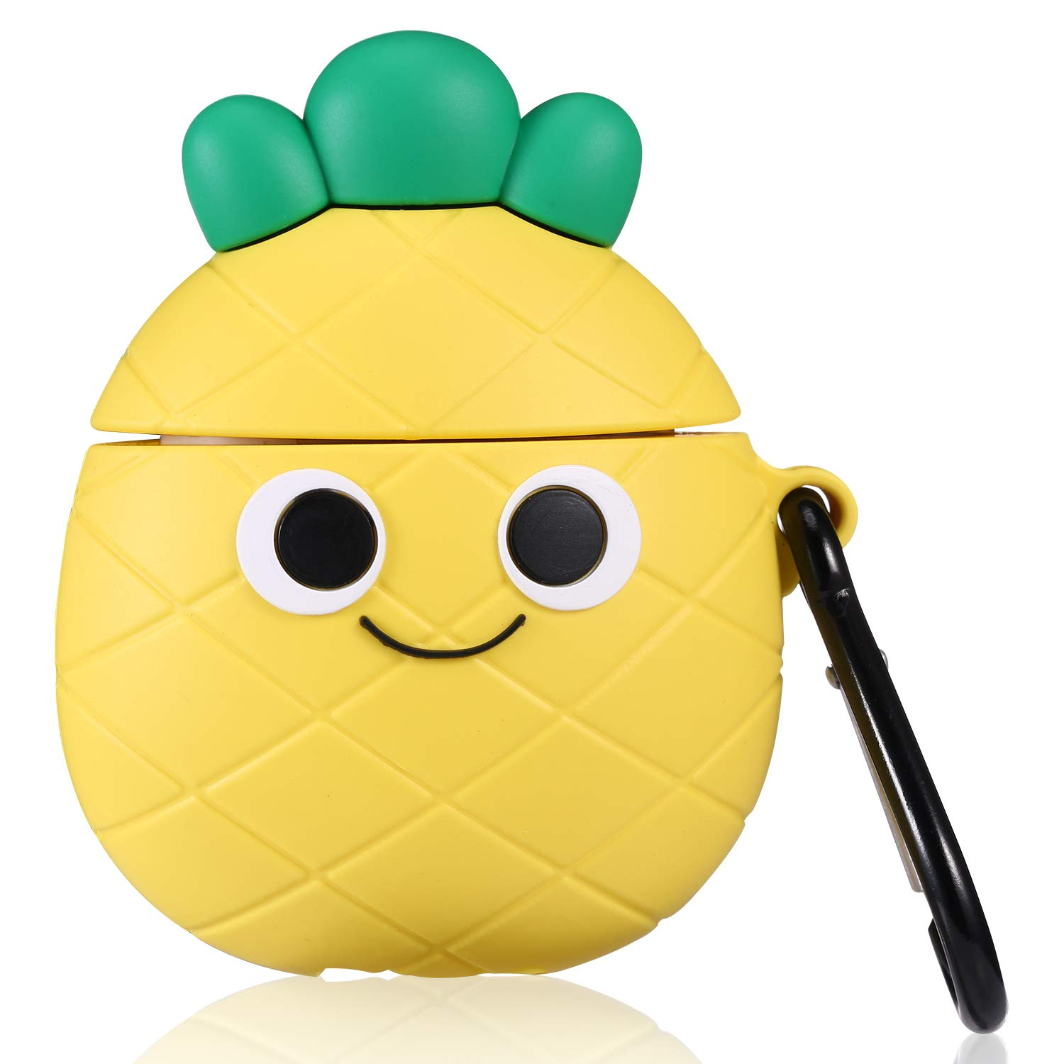 Lupct Q Pineapple Compatible with Airpods 1/2 Case Soft Silicone, Cute Cartoon 3D Cool Air pods Design Cover, Fun Kawaii Fruit Fashion Funny Cases for Kids Girls Teens Character Skin Keychain Airpod