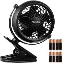 Gazeled Battery Operated Fans, Stroller Fan Battery Operated, Portable Battery Powered Fan with Clip, 5 Inch Cordless Fan for Camping, Mini Quiet Personal Fan for Bed, Car, 8 Free AA Batteries