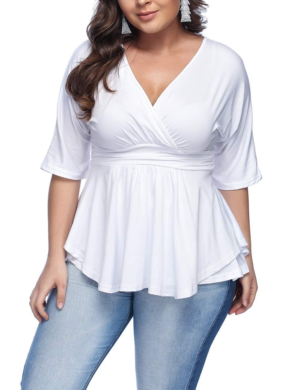 KUREAS Women's Plus Size Tops Deep V Neck T-Shirts Half Sleeve Ruched Knit Tee