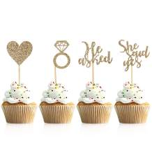 Donoter 48 Pcs Light Gold He Asked She Said Yes Cupcake Toppers Diamond Ring Heart Cake Picks for Wedding Engagement Party Cake Decorations