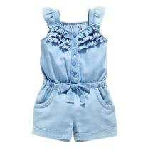 OWIKAR Baby Girls Rompers Lace Denim Vest Shorts Boat Neck Summer Dress for Age 1-6 Blue