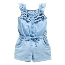 OWIKAR Baby Girls Rompers Lace Denim Vest Shorts Boat Neck Summer Dress for Age 1-6 Blue