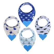 Pickle & Olive Baby/Toddler Bandana Teething Bibs with Attached BPA-Free Silicone Teether, Set of 4, Water-Resistant, Adjustable Snaps, Best Unique Baby Shower Gift for New Moms, Nautical