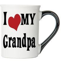 Cottage Creek Large 18 Ounce Ceramic I Love My Grandpa Coffee Mug/Grandpa Mug Cup [White]