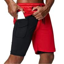 ThusFar Men's Workout Training Jogging Shorts Gym Sport Short Pants with Pockets 2 in 1 Running Shorts