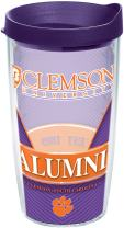 Tervis Clemson Tigers Alumni Tumbler with Wrap and Royal Purple Lid, 16 oz - Tritan, Clear