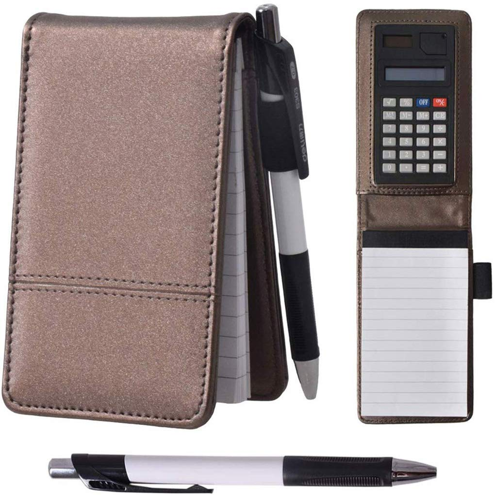 Lemical A7 Nylon Cover Journal Notebook with Calculator Working Small Notebook Memo Notepad with Pen Pad Holder Set Multi Function Soft Cover Brown Notebook for Office Working Study