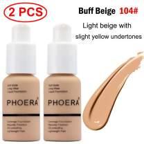 2 Pcs Phoera Liquid Foundation,30ml Natural Moisturizing Highlighting Matte Oil Control Concealer Facial Blemish Concealer Color Changing for Women Girls (104 Buff Beige)