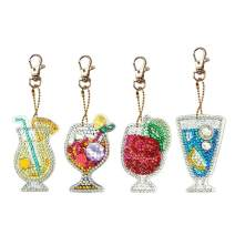 Diamond Painting Keychain Kit for Kids and Adults, DIY Full Drill Diamond Painting Art Crafts Juice Drink 4 Pack