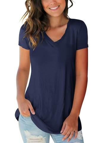Womens Blouse Stylish Print Tops Short Sleeve Choker V Neck T-Shirt Summer Casual Basic Graphic Tunic Top
