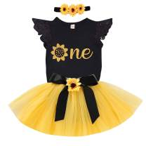 3Pcs Baby Girl One/Half 1st Birthday Outfits Sunflower Romper Tulle Tutu Skirt Set Party Dress Clothes