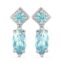 JewelPin Natural Gemstone Sterling Silver Multi-Stone Earrings for Women