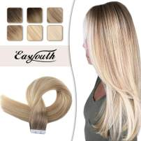 Easyouth Balayage Tape in Hair Extensions 20 inch Color Middle Brown Fading to Caramel Blonde and 60 Blonde Real Human Hair 50g 20pcs Adhesive Glue in Hair Extensions Seamless Skin Weft Extensions