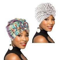1Pack/2Packs/4Packs Women Turban African Pattern Knot Headwrap Beanie Pre-Tied Bonnet Chemo Cap Hair Loss Hat