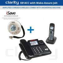 Clarity E814CC Amplified Corded/Cordless Combo with Answering Machine- Bundles (Clarity E814CC with Wake-Assure Jolt)
