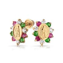 Tiny 14K Yellow Real Gold Red Green Red Cubic Zirconia CZ Religious Metal Virgin Mary Stud Earrings For Women For Teen