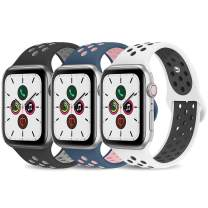AdMaster Compatible with Apple Watch Band 42mm 44mm,Soft Silicone Replacement Wristband Compatible with iWatch Series 1/2/3/4/5 - M/L BlackGray/WhiteBlack/MidnightBlue VintageRose