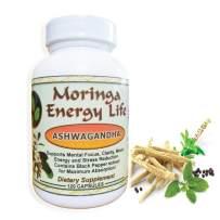 Ashwagandha Capsules by Moringa Energy! - 100% Pure and Natural Ashwagandha Root Extract Plus Black Pepper in 120 Capsules, 500 mg per Capsule. Vegan and Organic for Natural Focus and Clarity.