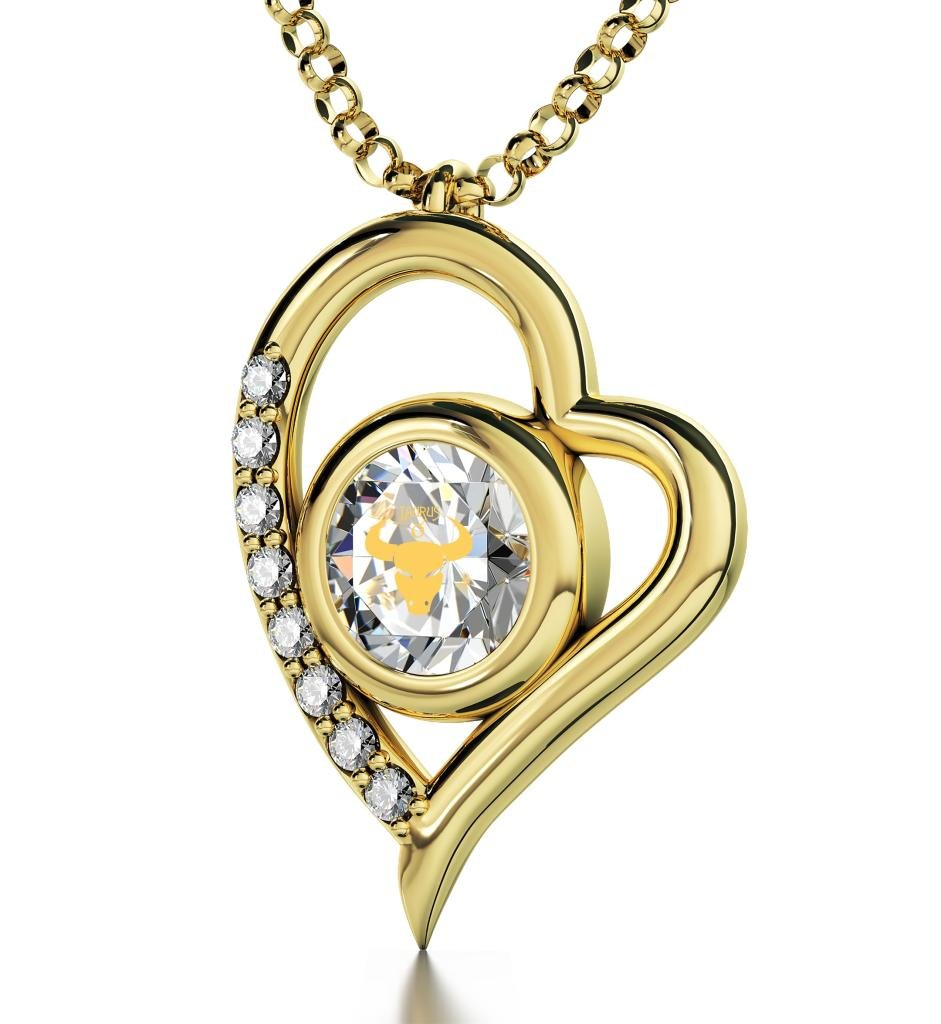 """Nano Jewelry Gold Plated Taurus Heart Necklace Zodiac Pendant for Birthdays 20th April to 20th May 24k Gold Inscribed with Star Sign and Symbol on Swarovski Crystal Stone, 18"""" Gold Filled Chain"""