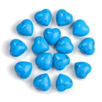 Sunligoo Healing Crystal Synthetic Blue Turquoise Heart Love Worry Stones Set Bulk Polished Pocket Palm Thumb Gemstones Chakra Reiki Balancing - 15 Pcs, 0.6 inches